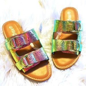 Holographic Buckle Slide Sandals 🌞